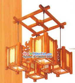 Mandarin Style Wood Carved Large Ceiling Lanterns