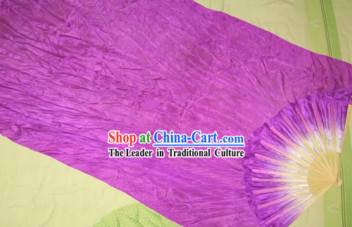 Supreme Bamboo Handle Chinese Traditional Silk Dance Fan _purple_