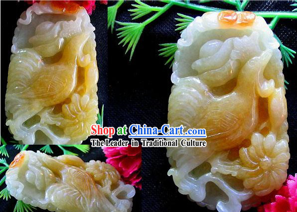 Chinese Chicken and Blossoming Peony Top Jade Charm