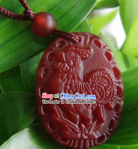 Chinese Traditional Chicken Top Red Jade Charm