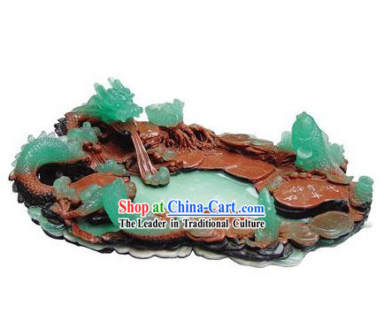 Chinese Stunning Hand Carved Green Dragon Tea Tray