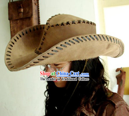 Chinese Tibetan Hand Made Cowhide Hat