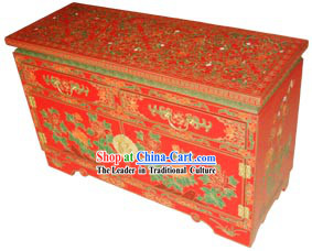 Chinese Gorgeous Lucky Red Wood Cabinet