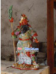 High Chinese Jingde Colorful Ceramics Gwan Gong Statue