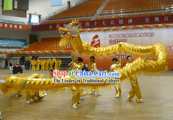 Shinning Grand Opening and Celebration Golden Dragon Dance Costumes Complete Set