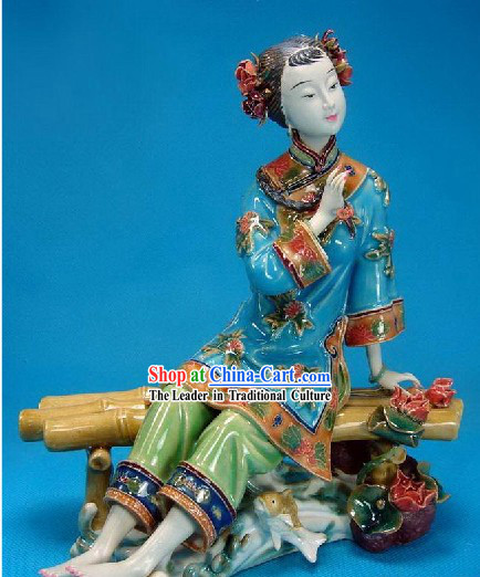 Chinese Classical Shiwan Statue - Ancient Lady Besides the Water