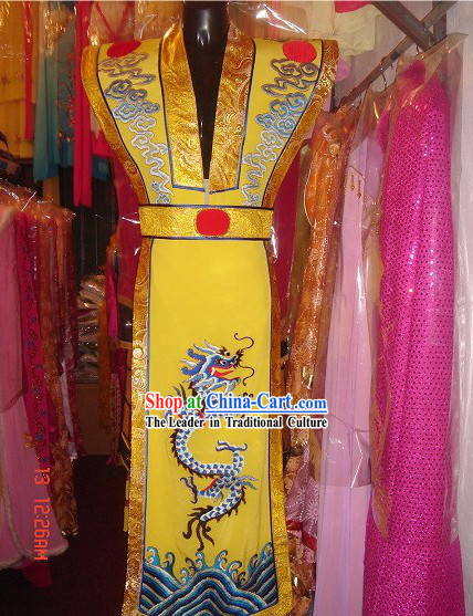 Chinese Traditional Ancient Embroidered Dragon Emperor Waistcoat and Belt Set
