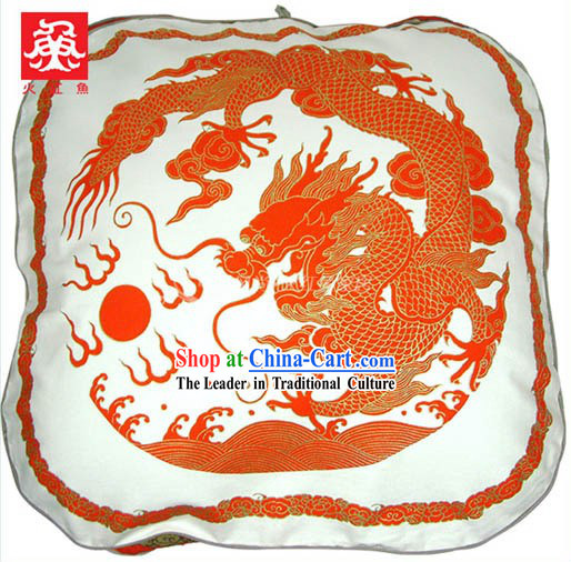 Chinese Traditional Handmade Large Dragon Cushion Cover