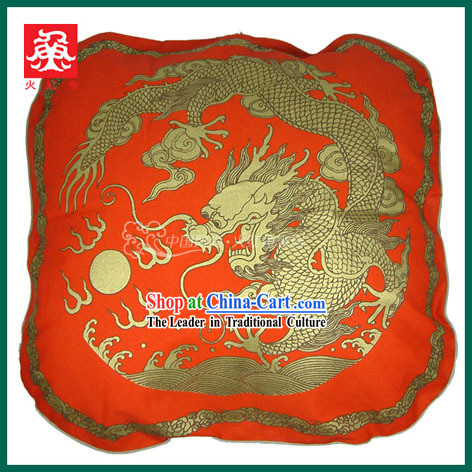 Chinese Traditional Handmade Large Dragon Cushion Cover _red_
