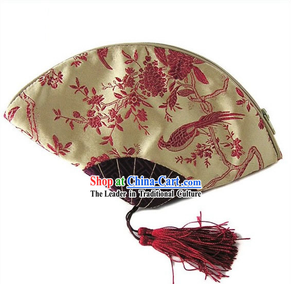 Chinese Traditional Handmade Bird and Flower Fan Shape Banquet Handbag