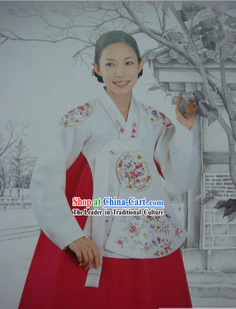 Supreme Korean Traditional Embroidered Flower Dress Hanbok Complete Set for Women