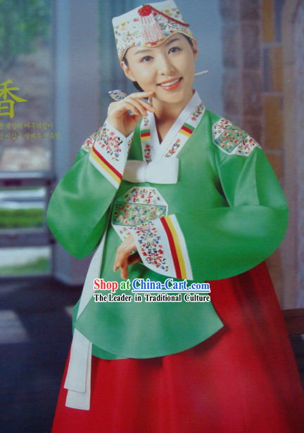 Korean Classic 100% Handmade Hanbok and Embroidered for Women (green)