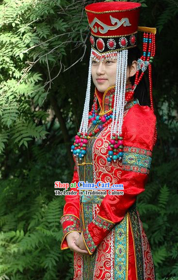 Supreme Chinese Traditional Mongolian Wedding Dress for Bride