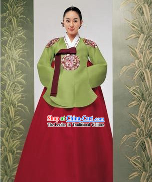 Korean Classic 100_ Handmade Embroidery Korean Hanbok Tang Dress-Dragon Beauty