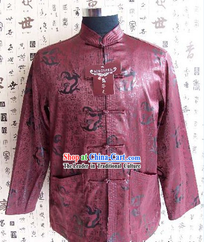 Chinese Classical Mandarin Style Hand Embroidered Purple Dragon Blouse