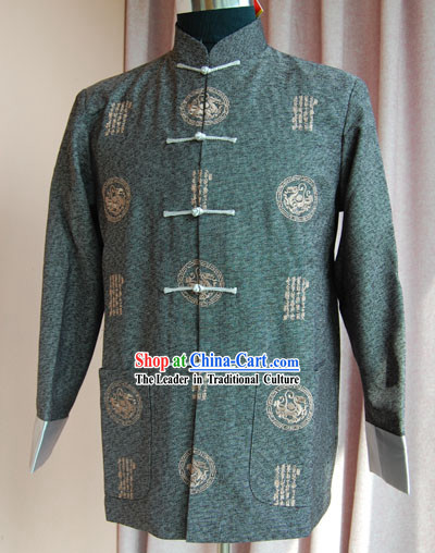 Chinese Classical Hand Embroidered Deep Green Dragon Blouse