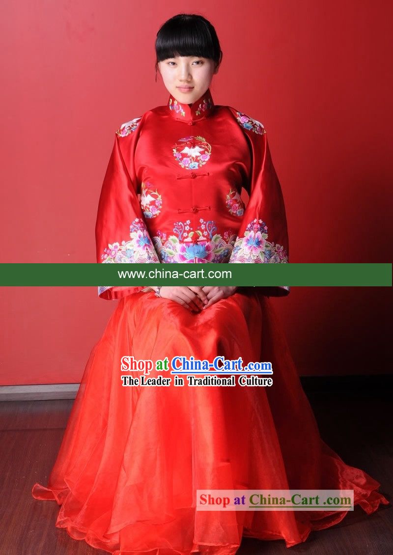 100% Silk Chinese Classical Lucky Red Long Skirt