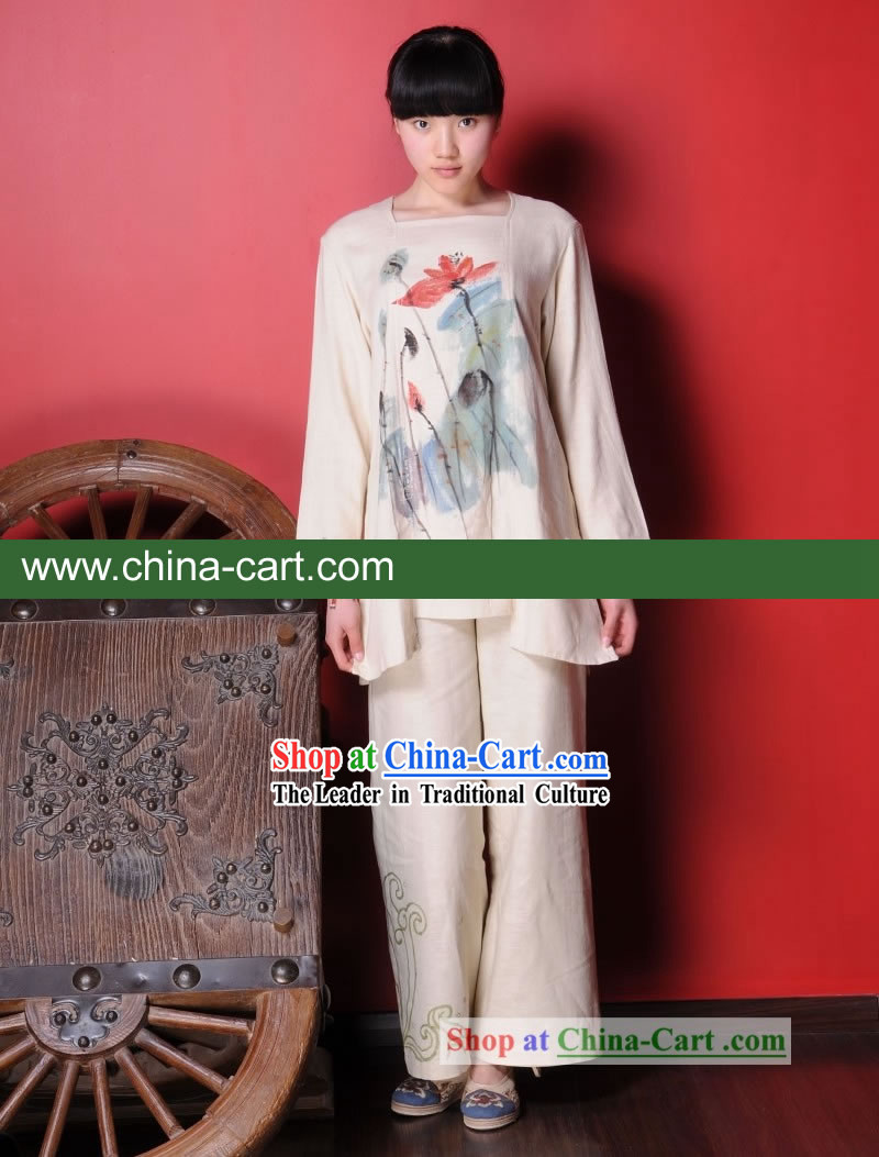 Chinese Classial Hand Painted Lotus Flax Clothing