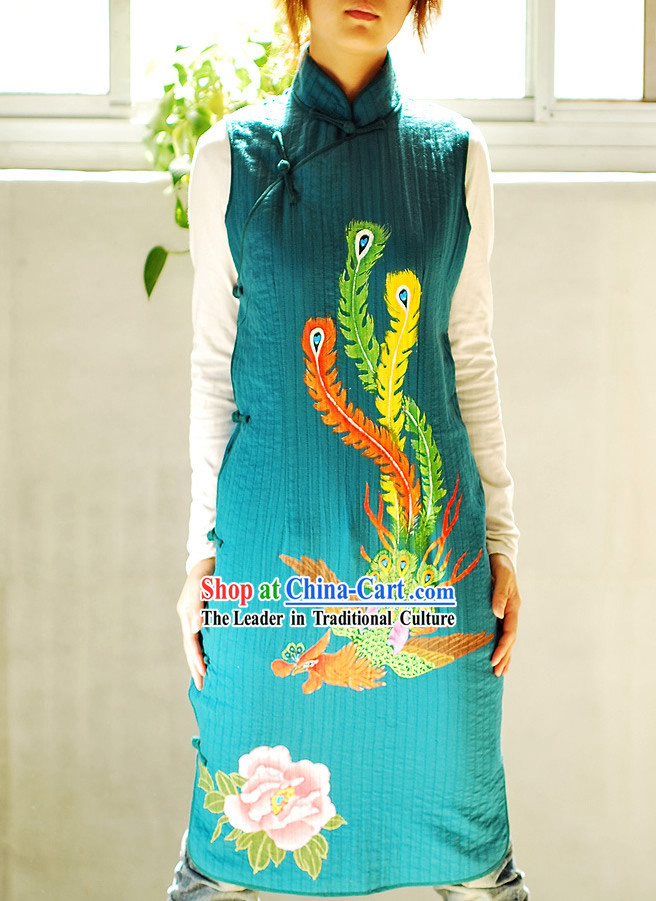 Classical Sky Blue Phoenix Tail Silk Cheongsam