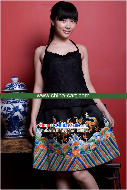Supreme Chinese Traditional Mandarin Hand Embroidered Dragons Silk Cheongsam _Qipao_