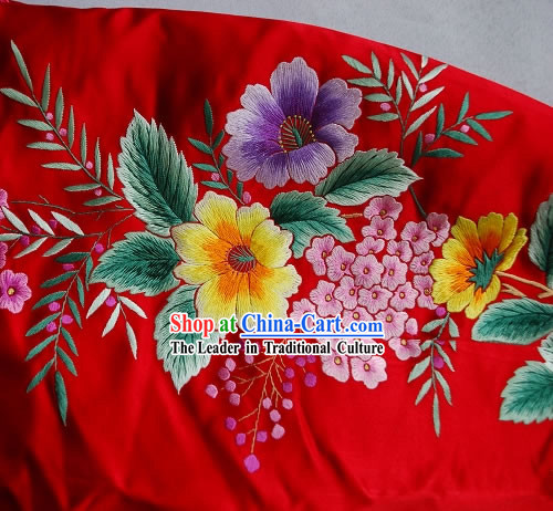 Supreme Chinese Traditional Hand Embroidered Grape Tree Long Cheongsam _Qipao_