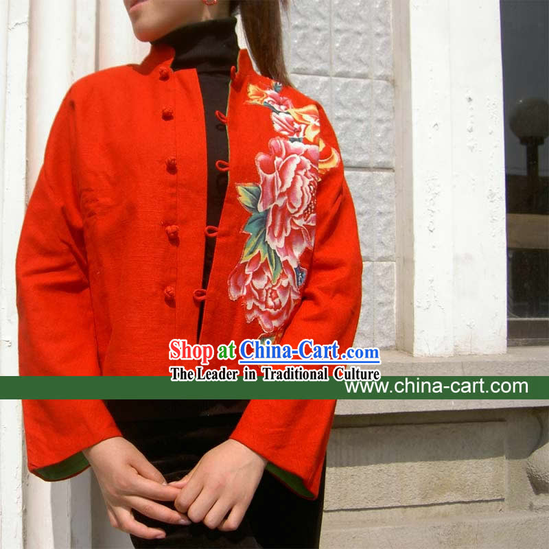 Chinese Lucky Red Mandarin Large Peony Blouse