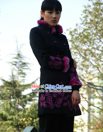 Chinese Traditional Mandarin Handmade Cotton Outercoat