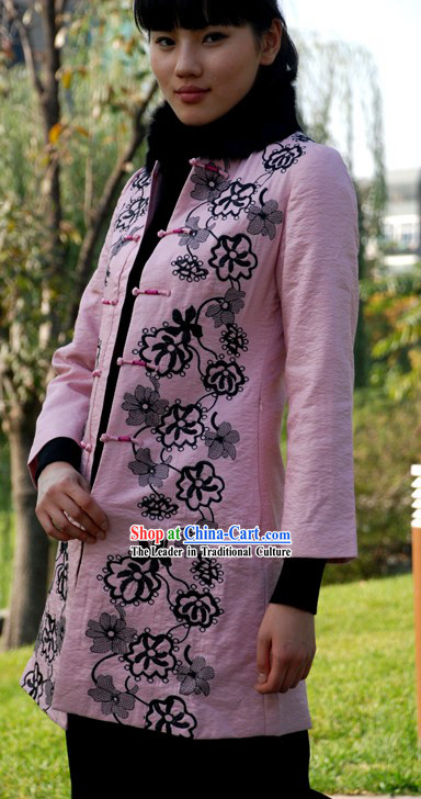 Chinese Traditional Mandarin Handmade Long Flowery Overcoat