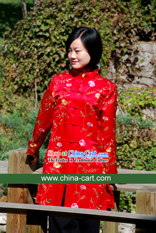 Chinese Traditional Lucky Red Handmade Flowery Blouse