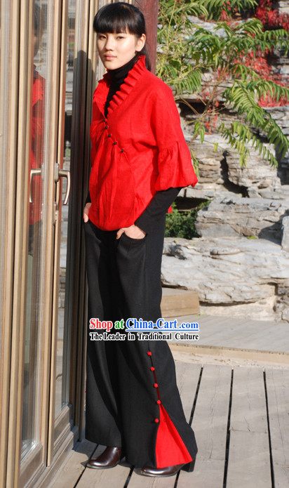 Chinese Classical Lucky Red Flax Blouse with Drape Collar