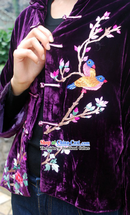 Chinese Stunning Handmade and Embroidered Birds Velvet Overcoat for Women