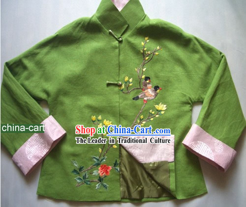 Chinese Classical Handmade and Painted Birds Mandarin Dress for Women