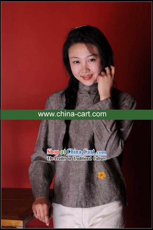 Chinese Classical Cotton Painted Flower Blouse