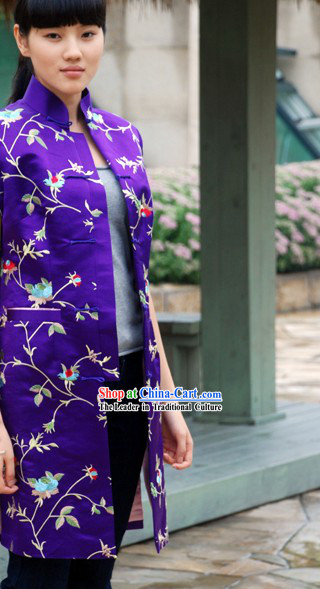Stunning Chinese Purple Silk Flower Blouse