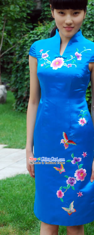 Chinese Traditional Mandarin Hand Embroidered Silk Cheongsam (Qipao)