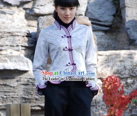 Chinese Traditional Handmade Cotton Blouse for Women