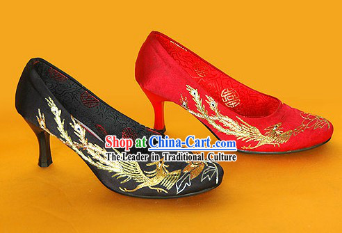Chinese Classical Handmade and Embroidered Dragon and Phoenix High Heel Wedding Shoes