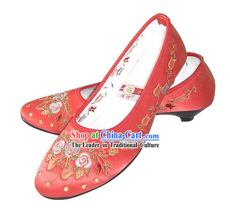 Chinese Traditional Handmade Embroidered Satin Shoes (pomegranate blossom, red)