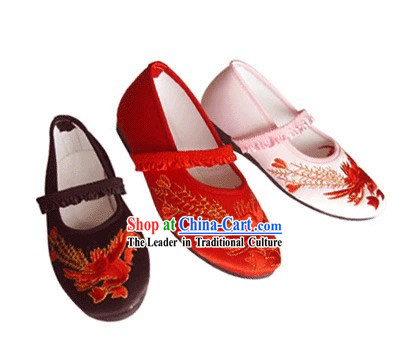 Chinese Traditional Handmade Embroidered Satin Shoes for Children (phoenix)