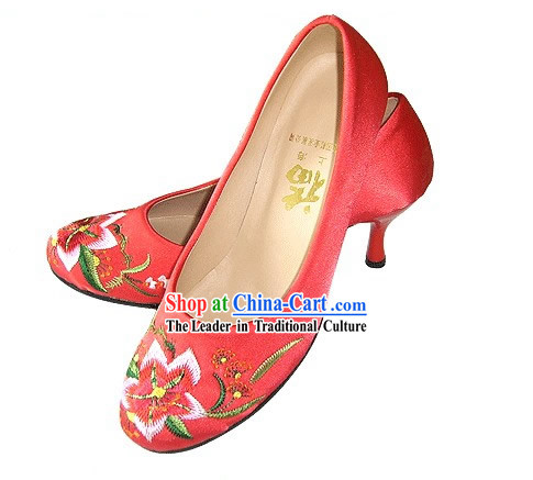 Chinese Classical Handmade and Embroidered High Heel Wedding Shoes (lily)