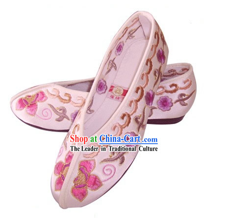 Chinese Traditional Handmade Embroidered Princess Satin Shoes _various flower, pink_