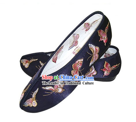 Chinese Traditional Handmade Embroidered Butterfly Satin Shoes (blue)