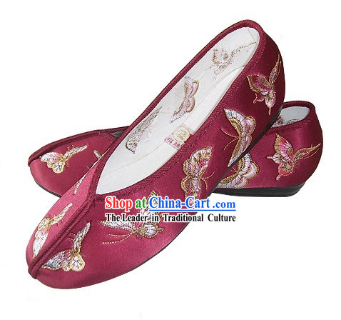 Chinese Traditional Handmade Embroidered Butterfly Satin Shoes (brown)