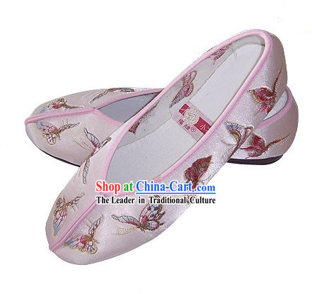 Chinese Traditional Handmade Embroidered Butterfly Satin Shoes (pink)