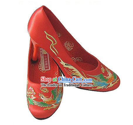 Chinese Classical Handmade and Embroidered Dragon and Phoenix High Heel Wedding Shoes (red)