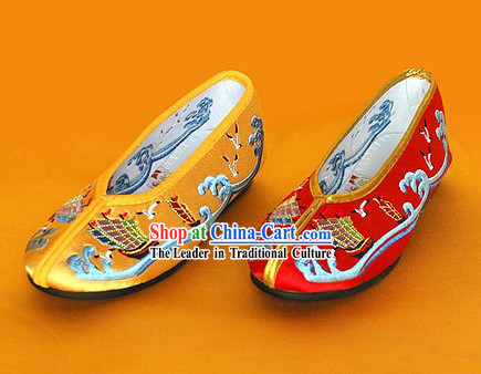 Chinese Classic Handmade Embroidered Shoes for Children - Sea World