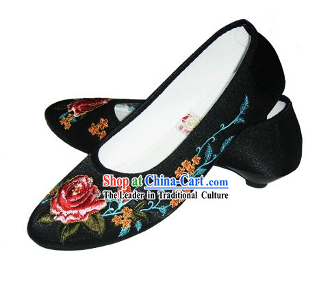 Chinese Traditional Handmade Embroidered Satin Shoes (peony, black)