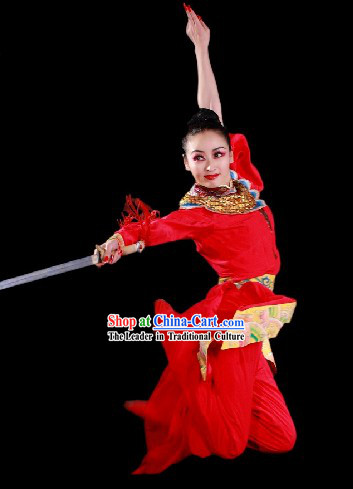 Chinese Classic Lucky Red Women Hero Costumes