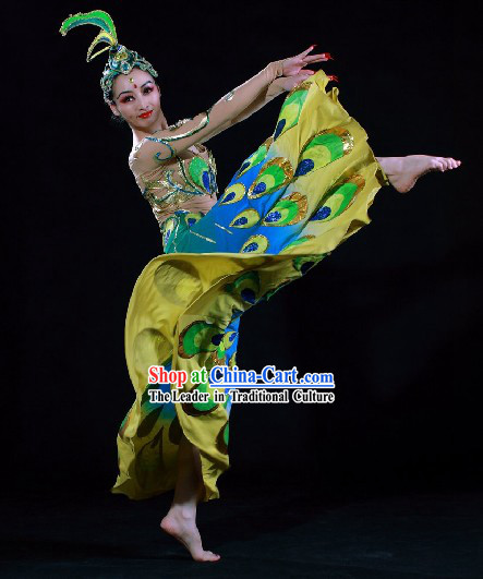 Supreme Chinese Traditional Peacock Dance Costumes Complete Set