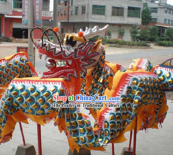 Supreme Chinese Traditional Dragon Dance Equipments Complete Set (Gold Armor Silver Dragon)
